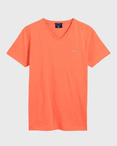 GANT Erkek Turuncu Slim Fit V Yaka T-Shirt