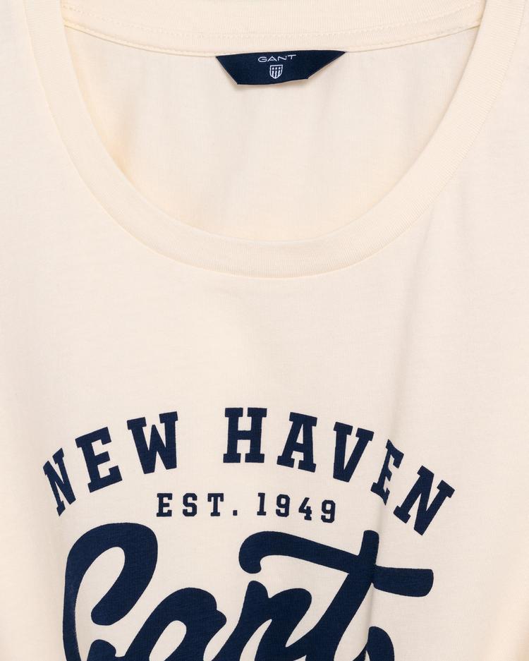 Gant Kadın Krem Rengi Logolu T-Shirt