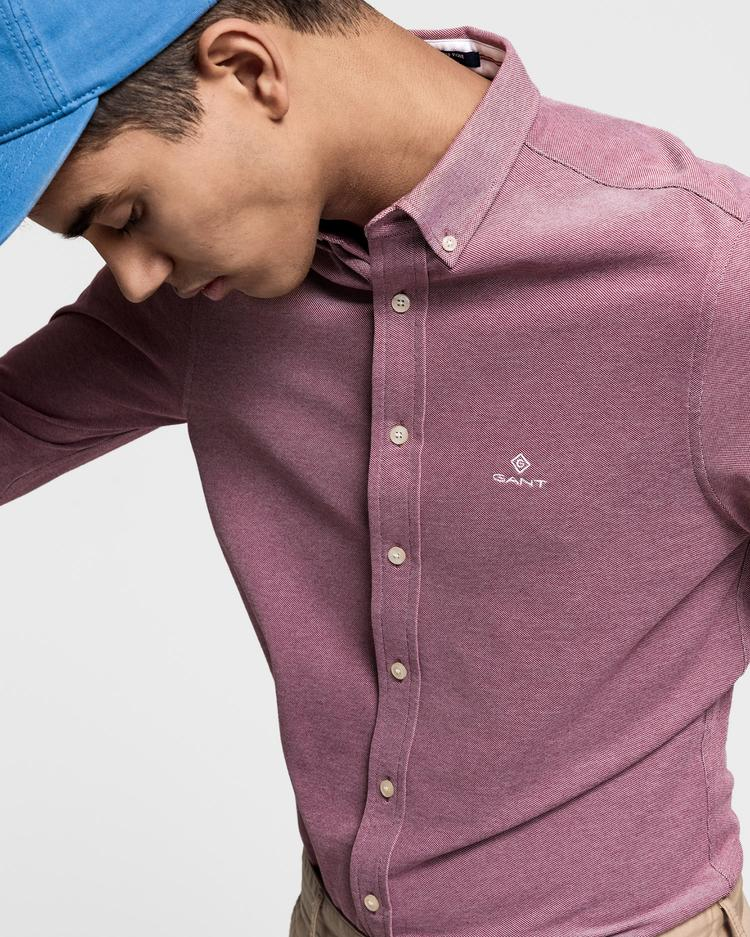 GANT Erkek Kırmızı Slim Fit Tech Prep Piqué Gömlek