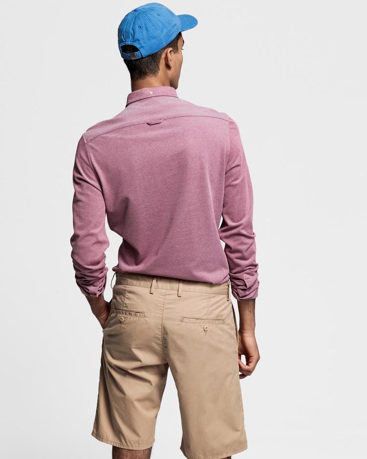 GANT Erkek Kırmızı Slim Fit Tech Prep Pique Gömlek