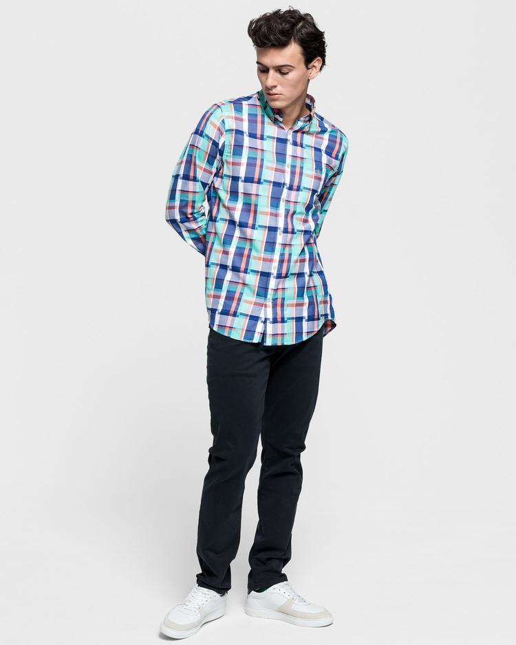 GANT Erkek Yeşil Regular Fit Madras Gömlek