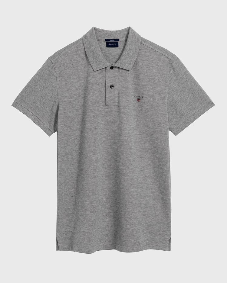 Gant Erkek Gri Melanj Regular Fit Pique Polo