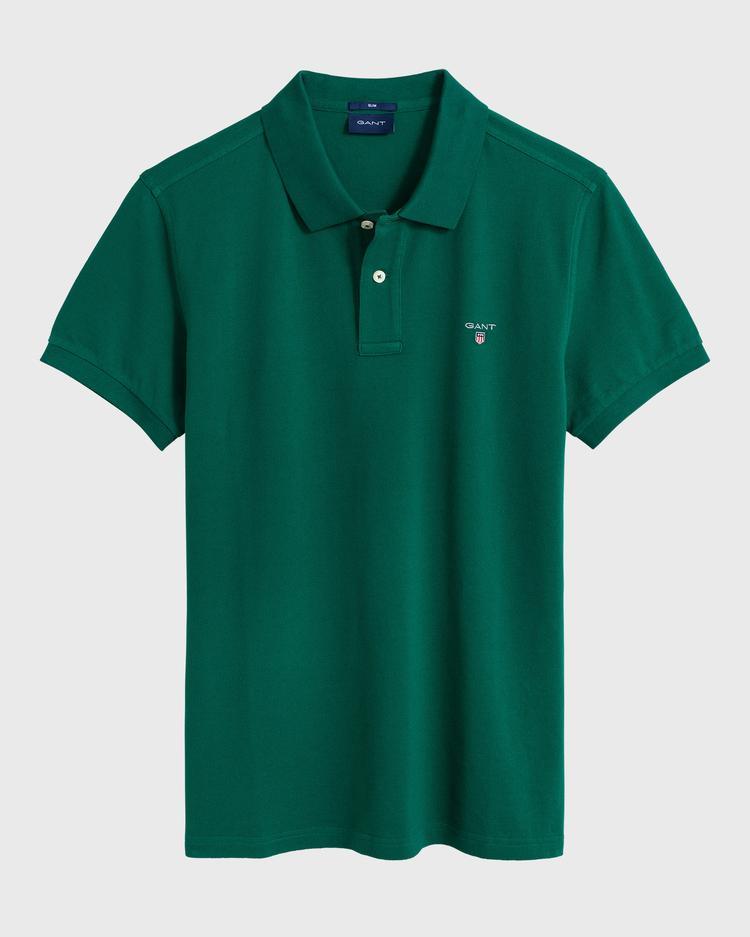 GANT Erkek Yeşil Slim Fit Pique Polo