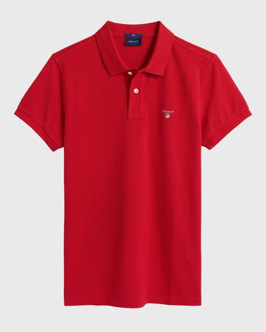 GANT Erkek Kırmızı Slim Fit Pique Polo
