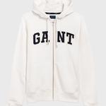 GANT Erkek Krem Rengi Grafik Baskılı Fermuarlı Sweatshirt