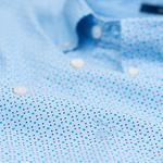 Erkek Mavi Puantiyeli Micro Dot Diamond Slim Gomlek