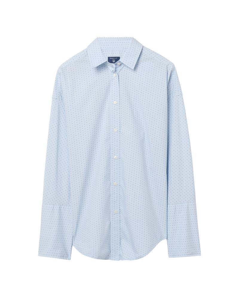 Kadın Tech Prep Dobby Mavi Puantiyeli Gömlek