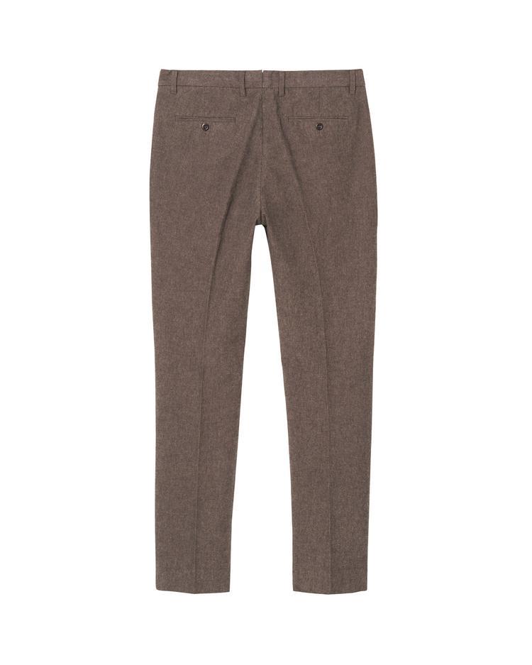 Erkek Kahverengi Slim Salt Pepper Slacks Pantolon