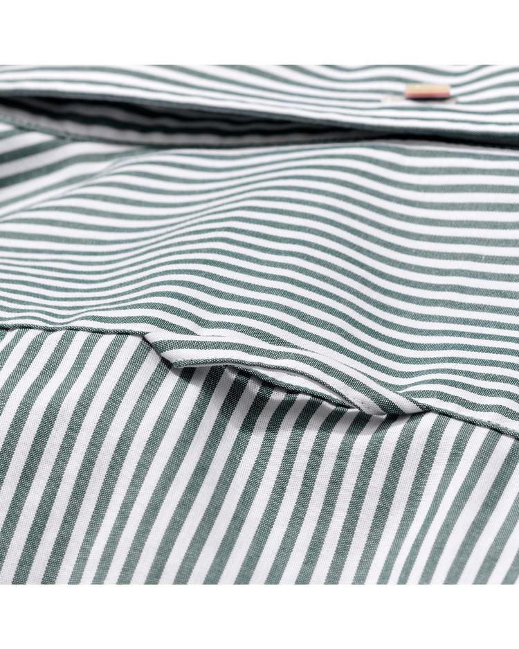 Erkek Yeşil Çizgili Slim Fit Broadcloth Gömlek