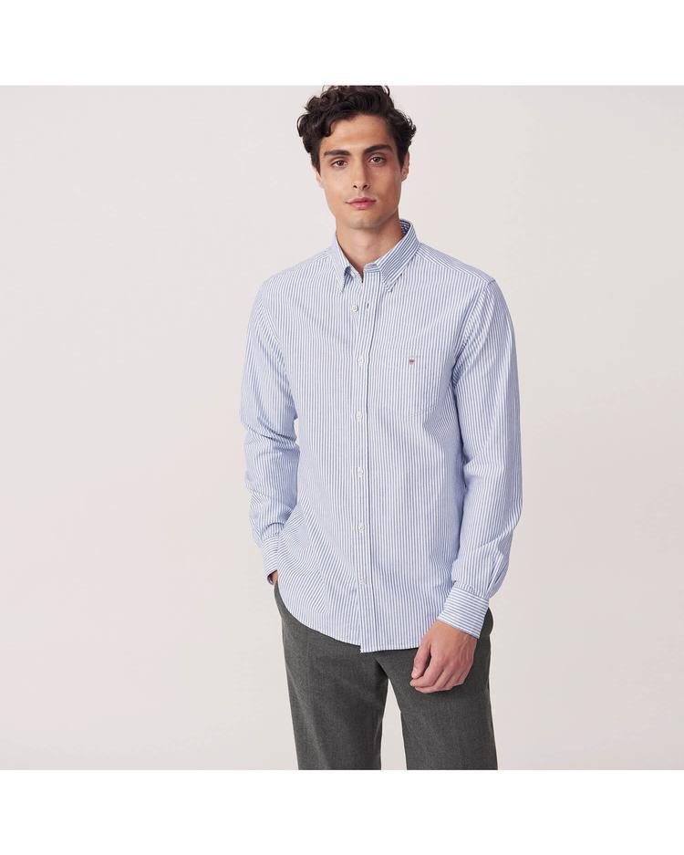 Erkek Lacivert Çizgili Regular Oxford Gömlek