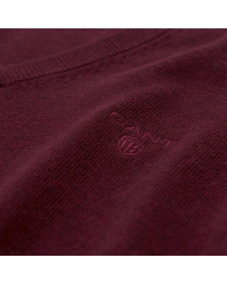 Erkek Bordo Lightweight Cotton Slipover Triko Süveter