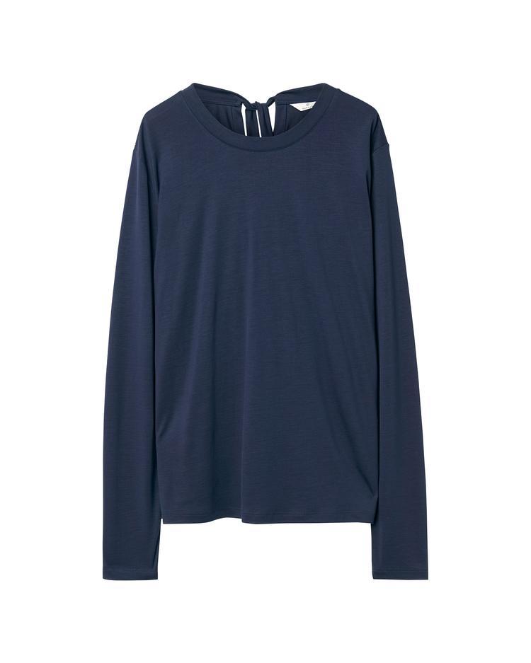 Kadın Lacivert Back Not Ls Top Bluz