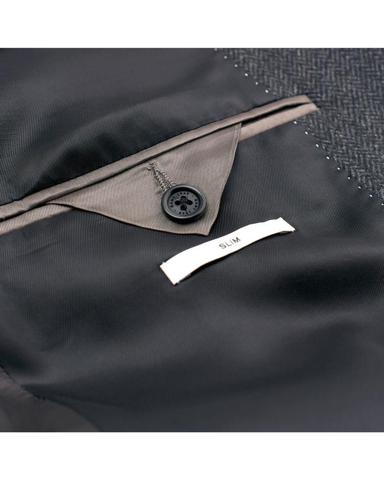 Erkek Füme Herringbone Blazer Ceket