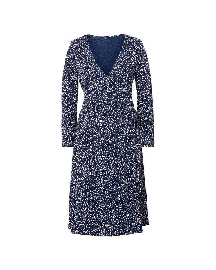 Kadın Lacivert Desenli Wrap Dress Printed Elbıse