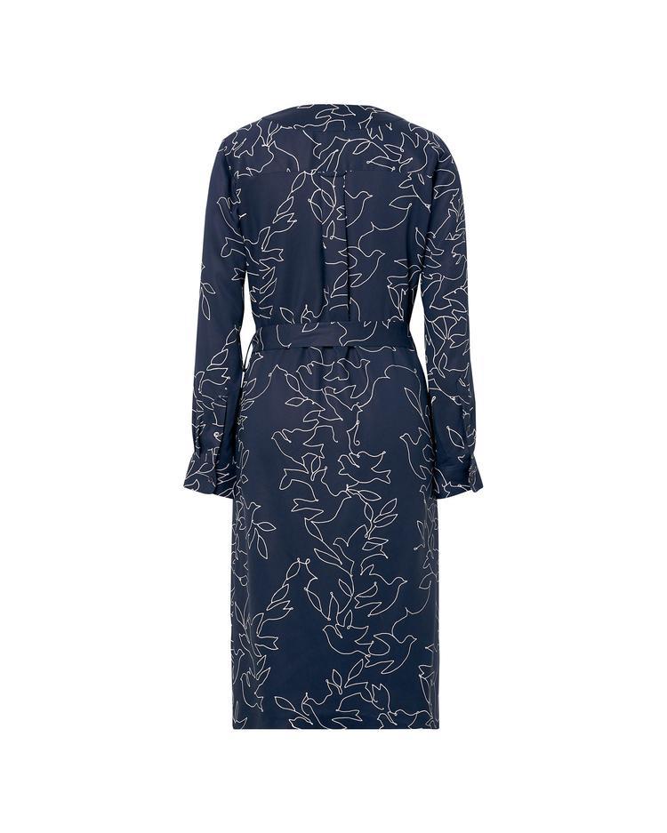 Kadın Desenli Lacivert Elbise