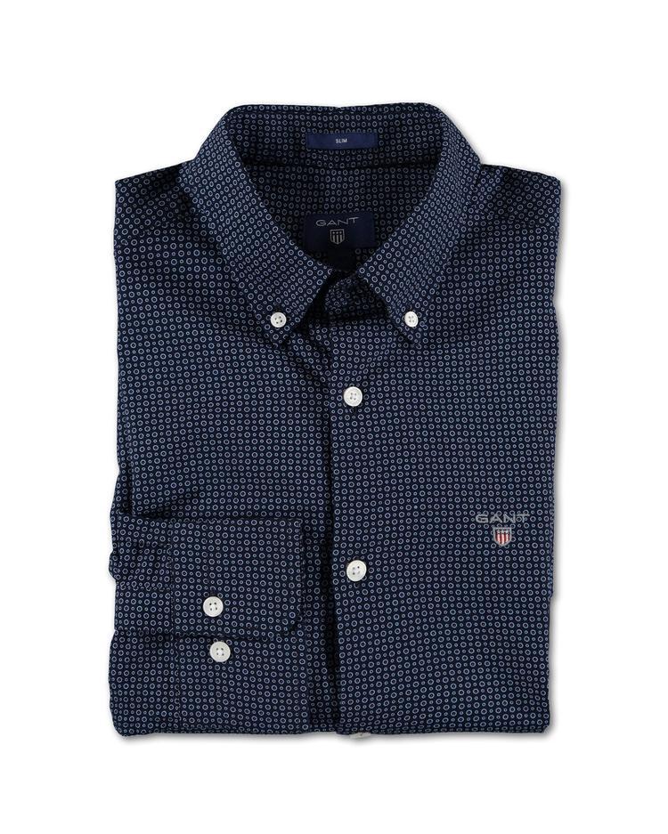 Erkek Lacivert Desenli Oxford Slim Fit Gömlek