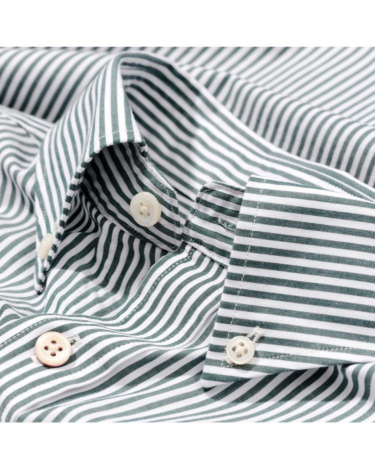Gant Erkek Yeşil Çizgili Slim Fit Broadcloth Gömlek