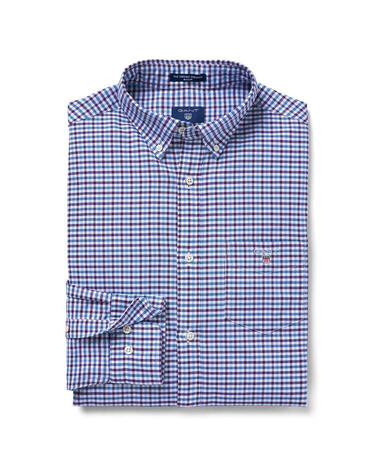 GANT Erkek Mavi Kareli Regular Oxford Gömlek