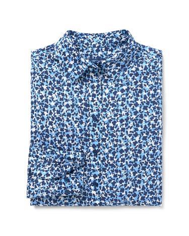 Kadın Desenli Mavi Gömlek