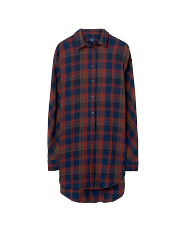 Kadın Kareli Lacivert Gömlek