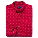 Kadın Kırmızı Broadcloth Puantiyeli Regular Fit Gömlek