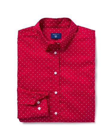 Gant Kadın Kırmızı Broadcloth Puantiyeli Regular Fit Gömlek