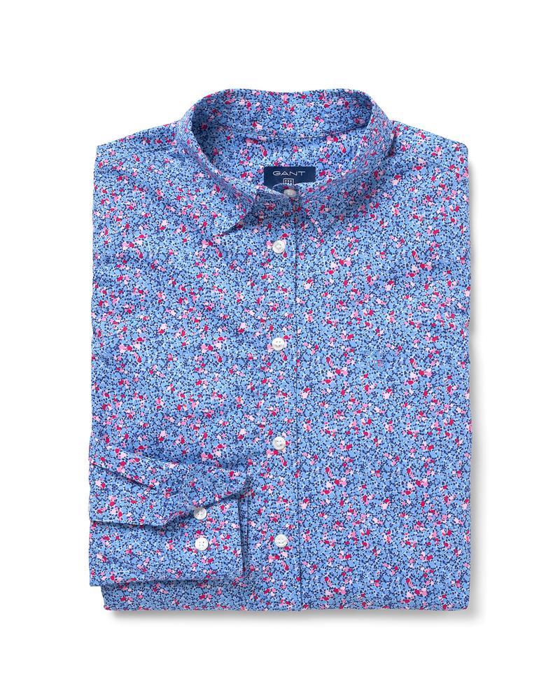 Kadın Mavi Desenli Preppy Stretch Gömlek