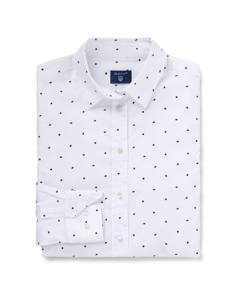 Kadın Beyaz Oxford Puantiyeli Regular Fit Gömlek