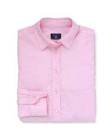 Kadın Pembe Oxford Puantiyeli Regular Fit Gömlek