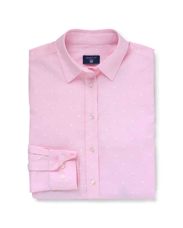 GANT Kadın Pembe Oxford Puantiyeli Regular Fit Gömlek