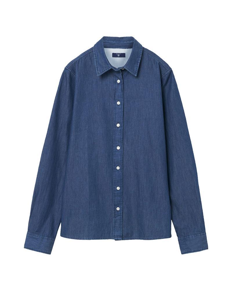 GANT Kız Çocuk Lacivert Regular Embroidered Denim Gömlek