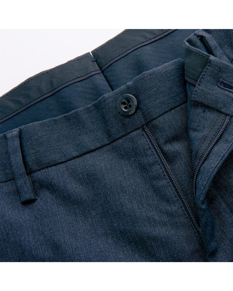 Erkek Lacivert Slim Herringbone Slacks Pantolon