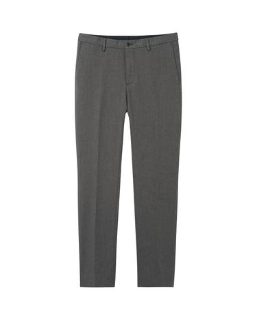 Erkek Gri Slim Herringbone Slacks Pantolon