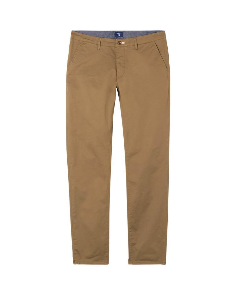 Erkek Twill Chino Kahverengi Slim Pantolon