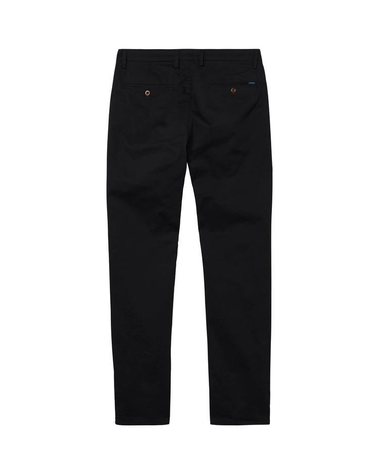 Erkek Twill Chino Siyah Slim Pantolon