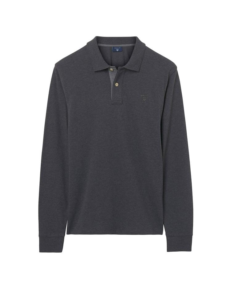 Gant Erkek Gri Uzun Kollu Pique Regular Polo