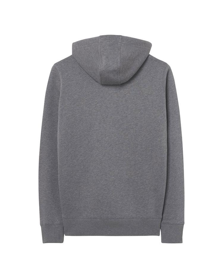 Erkek Gri Backside Full Zip Hoodie Sweatshirt