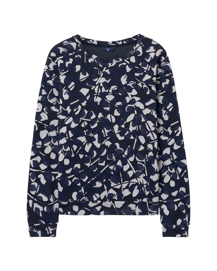 Kadın Lacivert Desenli Aop Crew Neck Sweatshirt