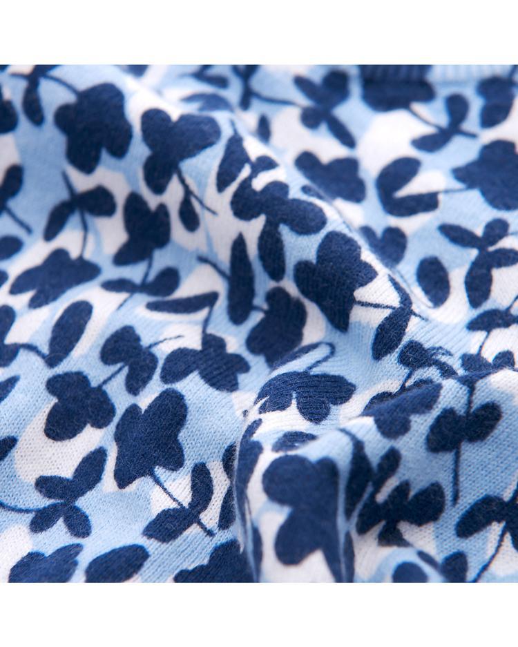 Kadın Mavi Desenli Triko Kazak