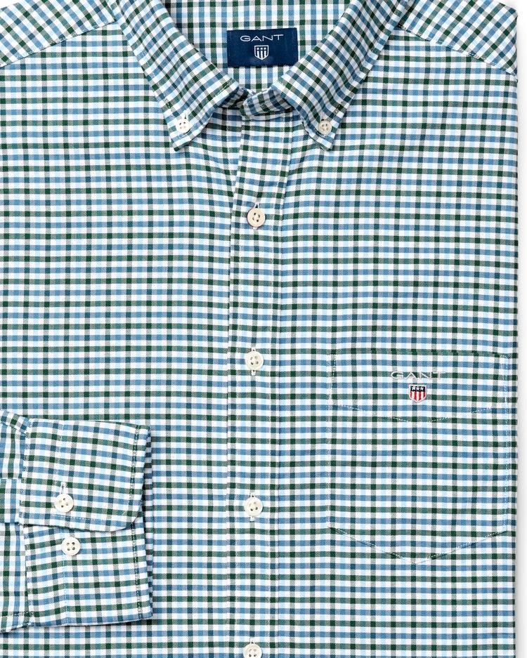 Erkek Yeşil Kareli Regular Oxford Gömlek
