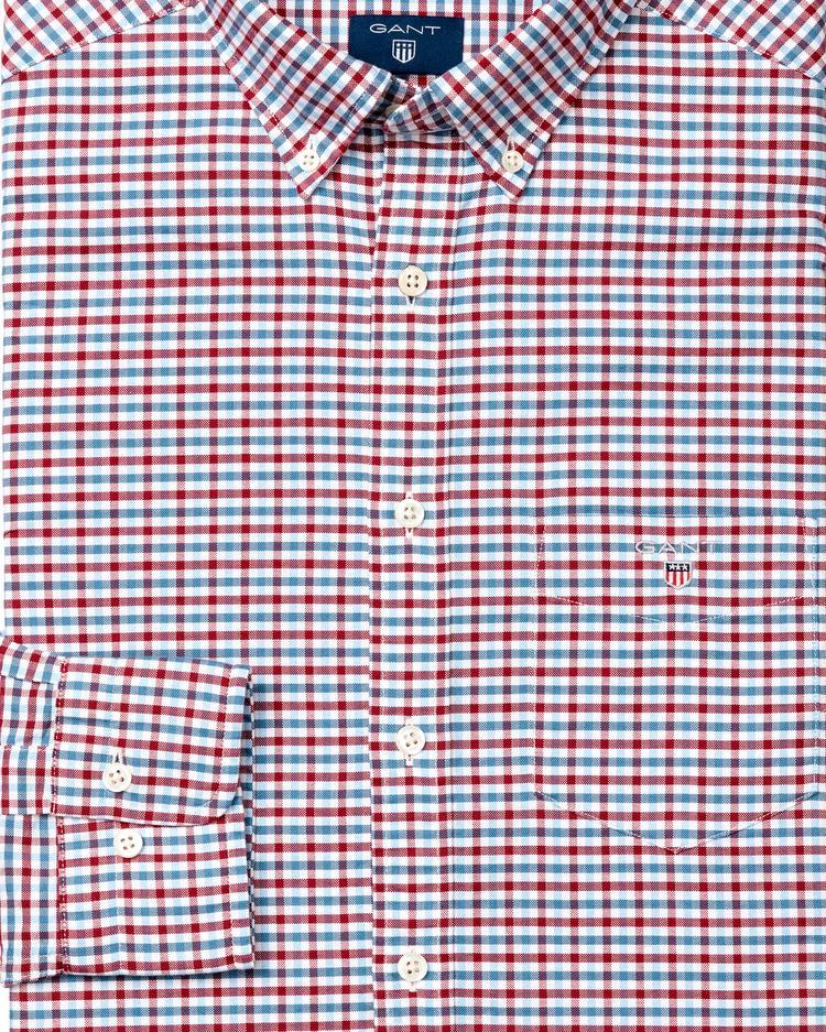 Gant Erkek Kırmızı Kareli Regular Oxford Gömlek