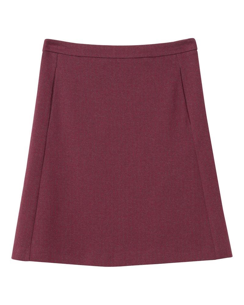 Kadın Bordo Herringbone Jersey Skirt Etek