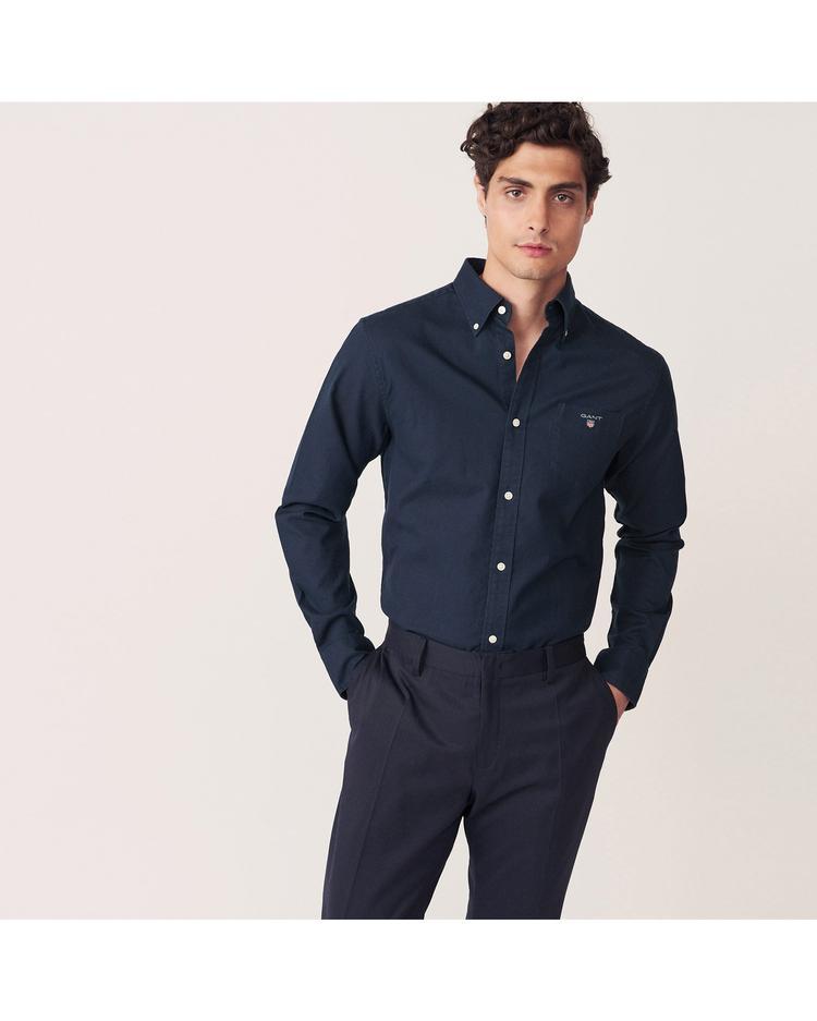 Erkek Lacivert Regular Brushed Oxford Gömlek