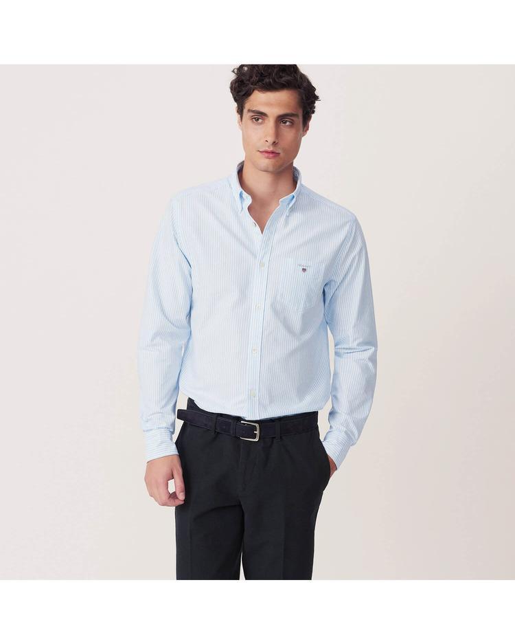Erkek Mavi Çizgili Regular Oxford Gömlek