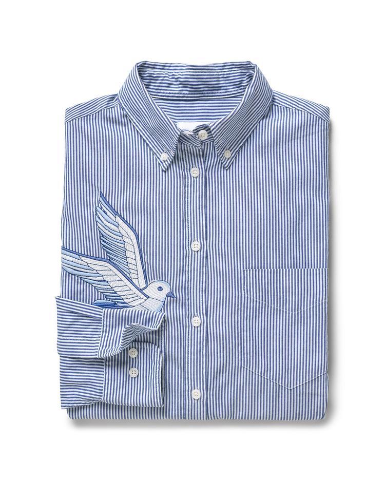 Kadın Çizgili Mavi Gömlek