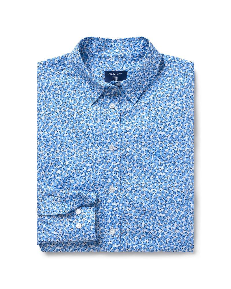 Kadın Mavi Broadcloth Desenli Regular Fit Gömlek