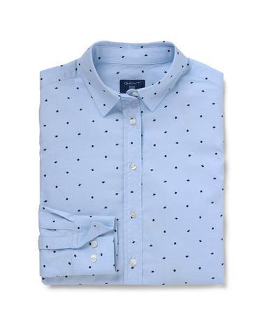 Kadın Mavi Oxford Puantiyeli Regular Fit Gömlek