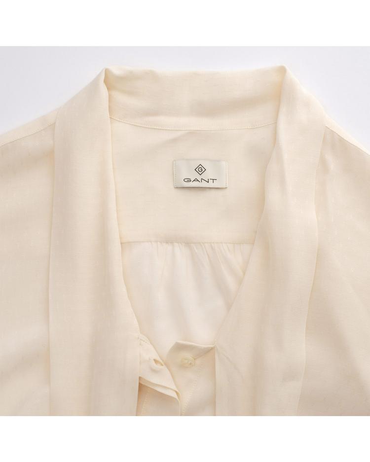 Kadın Pembe Dobby Bow Blouse Gömlek