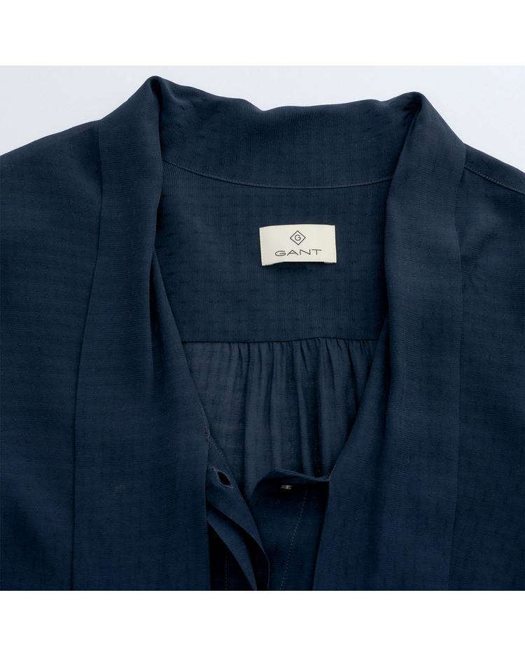 GANT Kadın Lacivert Dobby Bow Blouse Gömlek