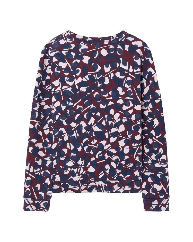 Kadın Bordo Desenli Aop Crew Neck Sweatshirt